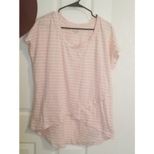 Lane Bryant pink & white striped cross front top